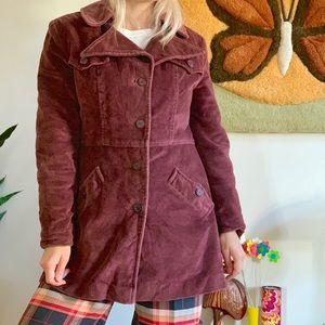 Vintage 70s maroon corduroy winter coat S